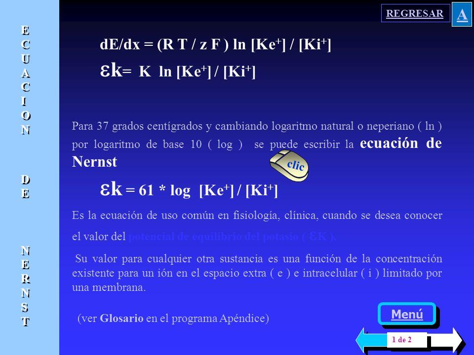 ek= K ln [Ke+] / [Ki+] ek = 61 * log [Ke+] / [Ki+] A